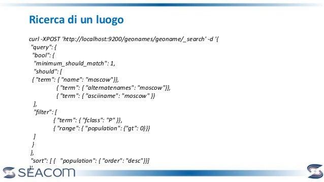"Ricerca di un luogo curl -XPOST 'http://localhost:9200/geonames/geoname/_search' -d '{ ""query"": { ""bool"": { ""minimum_shoul..."