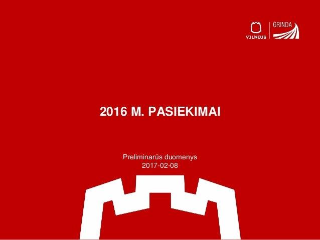 2016 M. PASIEKIMAI Preliminarūs duomenys 2017-02-08