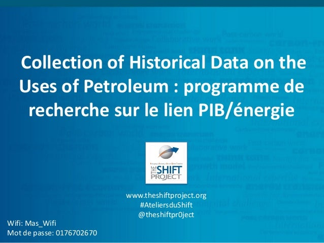 Collection of Historical Data on the Uses of Petroleum : programme de recherche sur le lien PIB/énergie Wifi: Mas_Wifi Mot...
