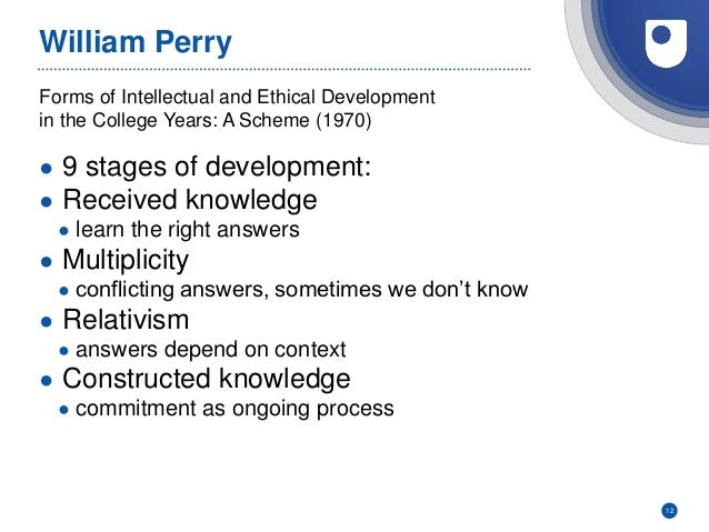 Forms of Intellectual and Ethical Development in the College Years: A Scheme (1970) William Perry ● 9 stages of developmen...