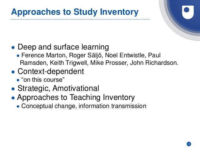 Approaches to Study Inventory ● Deep and surface learning ● Ference Marton, Roger Säljö, Noel Entwistle, Paul Ramsden, Kei...
