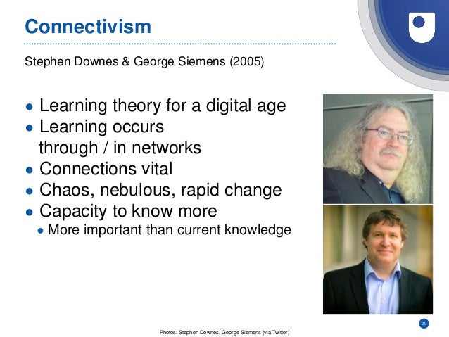 29 Stephen Downes & George Siemens (2005) Connectivism ● Learning theory for a digital age ● Learning occurs through / in ...