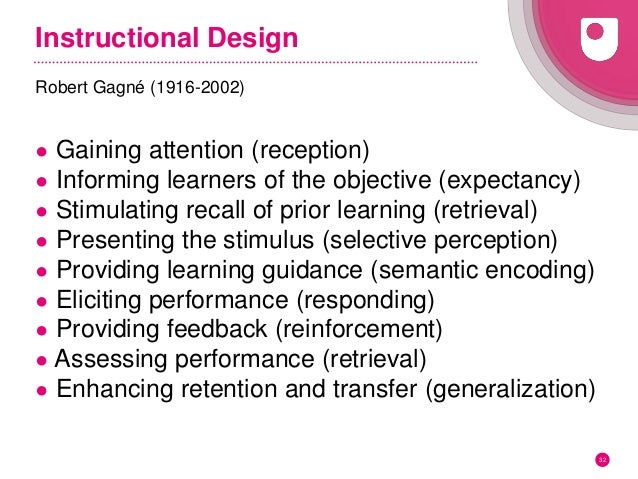 Instructional Design Robert Gagné (1916-2002) ● Gaining attention (reception) ● Informing learners of the objective (expec...