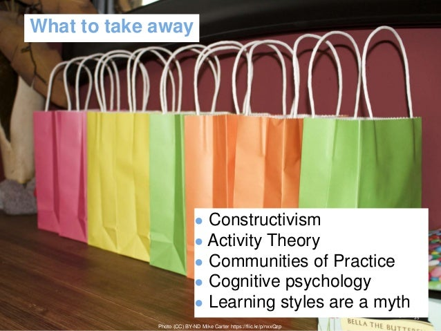 What to take away ● Constructivism ● Activity Theory ● Communities of Practice ● Cognitive psychology ● Learning styles ar...