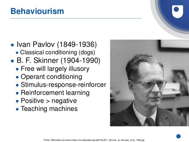 Behaviourism ● Ivan Pavlov (1849-1936) ● Classical conditioning (dogs) ● B. F. Skinner (1904-1990) ● Free will largely ill...