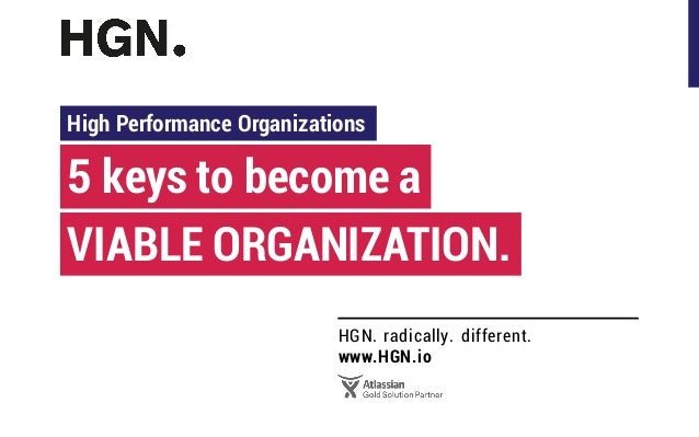 HGN. radically. different. www.HGN.io 5 keys to become a High Performance Organizations VIABLE ORGANIZATION.