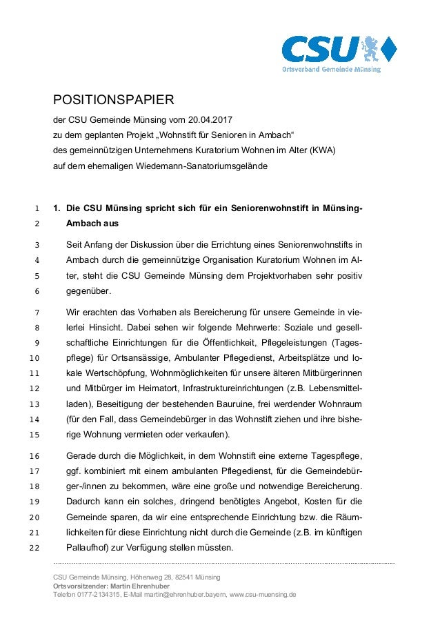………………………………………………………………………………………………………………………....................... CSU Gemeinde Münsing, Höhenweg 28, 82541 Münsing Orts...