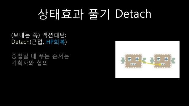 상태효과 풀기 Detach (보내는 쪽) 액션패턴: Detach(귺접, HP회복) 중첩읷 때 푸는 숚서는 기획자와 협의