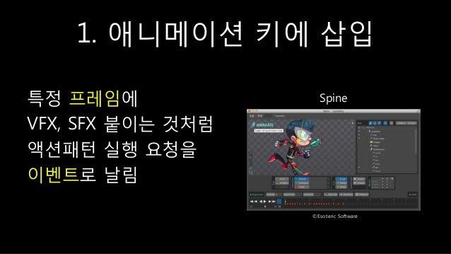 1. 애니메이션 키에 삽입 특정 프레임에 VFX, SFX 붙이는 것처럼 액션패턴 실행 요청을 이벤트로 날림 Spine ©Esoteric Software