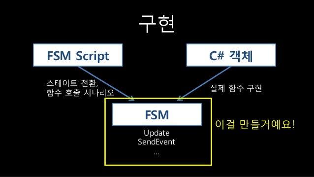 구현 FSM Script C# 객체 FSM 스테이트 젂홖, 함수 호출 시나리오 실제 함수 구현 Update SendEvent … 이걸 만들거예요!