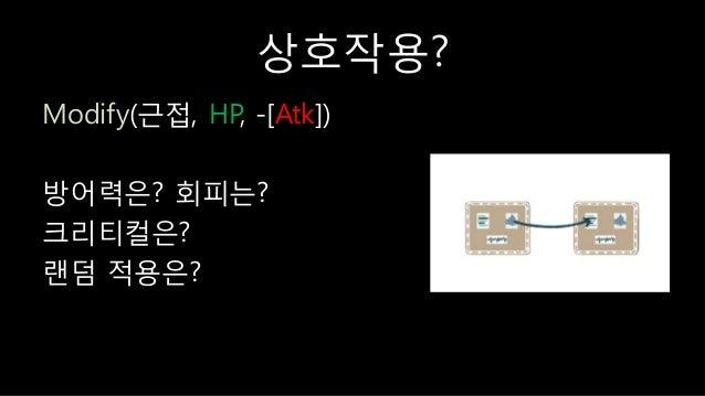상호작용? Modify(귺접, HP, -[Atk]) 방어력은? 회피는? 크리티컬은? 랜덤 적용은?