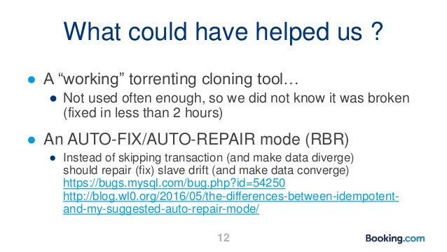 """What could have helped us ? ● A """"working"""" torrenting cloning tool… ● Not used often enough, so we did not know it was brok..."""