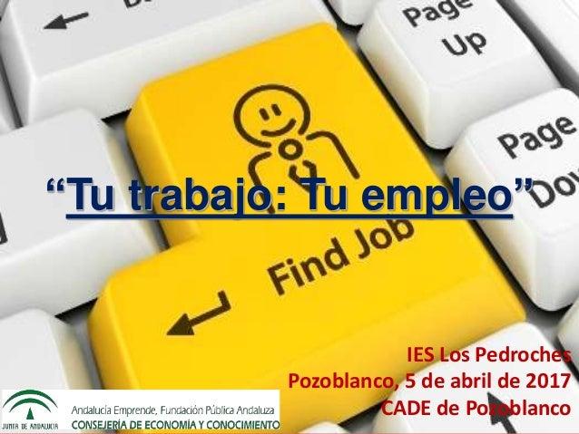 """IES Los Pedroches Pozoblanco, 5 de abril de 2017 CADE de Pozoblanco """"Tu trabajo: Tu empleo"""" IES Los Pedroches Pozoblanco, ..."""