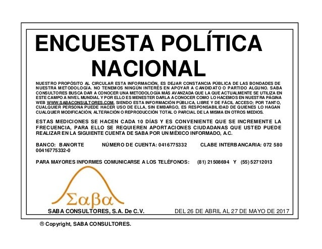 ENCUESTA POLÍTICA NACIONAL SABA CONSULTORES, S.A. De C.V. ® Copyright, SABA CONSULTORES. DEL 26 DE ABRIL AL 27 DE MAYO DE ...