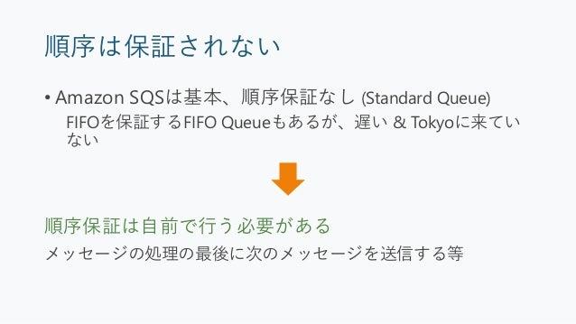 注意点 • 冪等性を保証する必要がある • 順序は保証されない (Amazon SQS Standard Queue) • 結果整合性モデルになることが多い