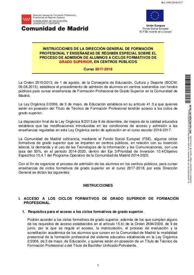 """1 Unión Europea Fondo Social Europeo """"El FSE invierte en tu futuro"""" La Orden 2510/2013, de 1 de agosto, de la Consejería d..."""