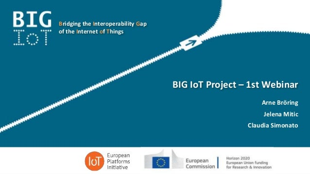 Bridging the Interoperability Gap of the Internet of Things BIG IoT Project – 1st Webinar Arne Bröring Jelena Mitic Claudi...