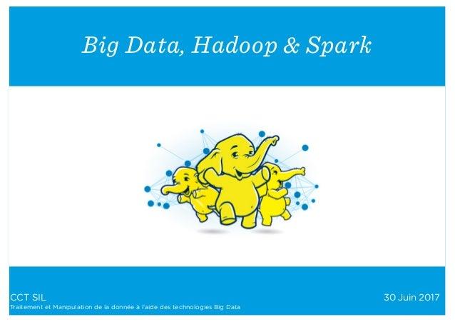 CCT SIL 30 Juin 2017 Traitement et Manipulation de la donnée à l'aide des technologies Big Data Big Data, Hadoop & Spark