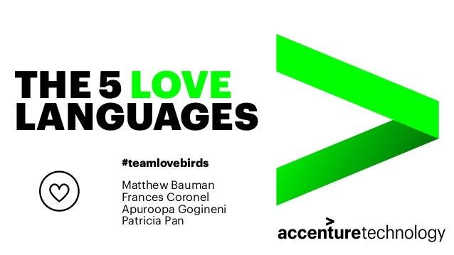 THE 5 LOVE LANGUAGES #teamlovebirds Matthew Bauman Frances Coronel Apuroopa Gogineni Patricia Pan