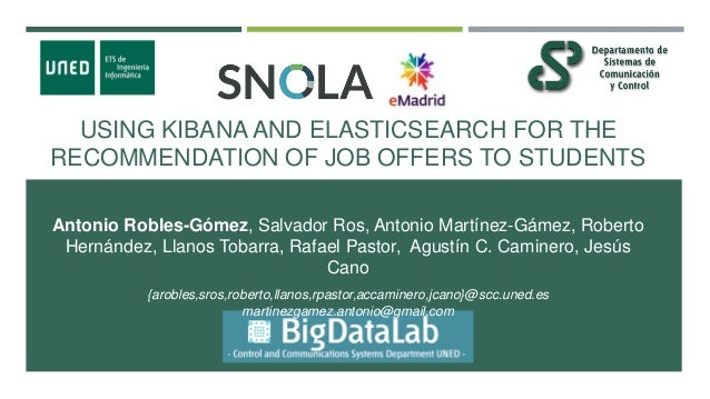 USING KIBANA AND ELASTICSEARCH FOR THE RECOMMENDATION OF JOB OFFERS TO STUDENTS Antonio Robles-Gómez, Salvador Ros, Antoni...