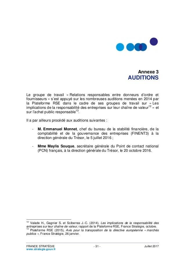Bureau D Ordre Et D Emploi Relations Responsables Entre Donneurs D Ordre Et Fournisseurs Avis
