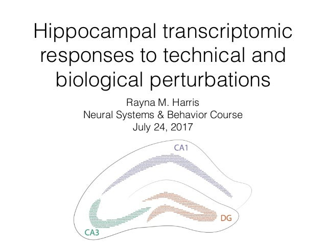 Hippocampal transcriptomic responses to technical and biological perturbations Rayna M. Harris Neural Systems & Behavior C...