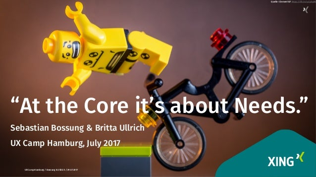 "1 ""At the Core it's about Needs."" Sebastian Bossung & Britta Ullrich UX Camp Hamburg, July 2017  UX Camp Hamburg / Bossung..."