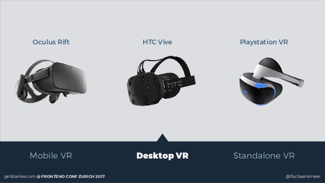 @fischaelameergeildanke.com @ FRONTEND CONF ZURICH 2017 Mobile VR Desktop VR Standalone VR Oculus Rift HTC Vive Playstation...
