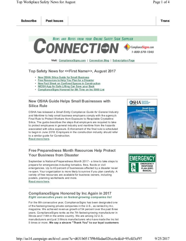 Visit: ComplianceSigns.com | Connection Blog | Subscription Page Top Safety News for <<First Name>>, August 2017 • New OSH...