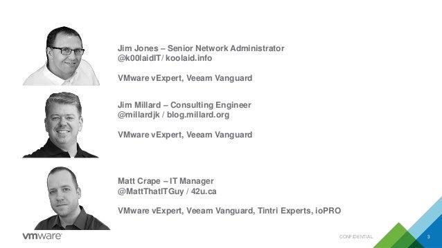 CONFIDENTIAL 3 Matt Crape – IT Manager @MattThatITGuy / 42u.ca VMware vExpert, Veeam Vanguard, Tintri Experts, ioPRO Jim J...