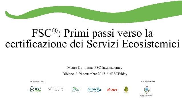 FSC®: Primi passi verso la certificazione dei Servizi Ecosistemici Mauro Ciriminna, FSC Internazionale Bibione / 29 settem...
