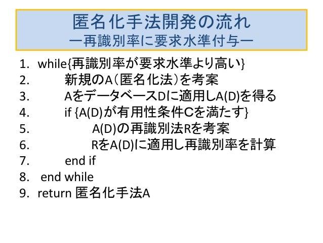 匿名化手法開発の流れ ー再識別率に要求水準付与ー 1. while{再識別率が要求水準より高い} 2. 新規のA(匿名化法)を考案 3. AをデータベースDに適用しA(D)を得る 4. if {A(D)が有用性条件Cを満たす} 5. A(D)の...
