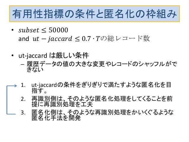 有用性指標の条件と匿名化の枠組み • 𝑠𝑢𝑏𝑠𝑒𝑡 ≤ 50000 and 𝑢𝑡 − 𝑗𝑎𝑐𝑐𝑎𝑟𝑑 ≤ 0.7 ∙ 𝑇の総レコード数 • ut-jaccard は厳しい条件 – 履歴データの値の大きな変更やレコードのシャッフルがで きない 1...
