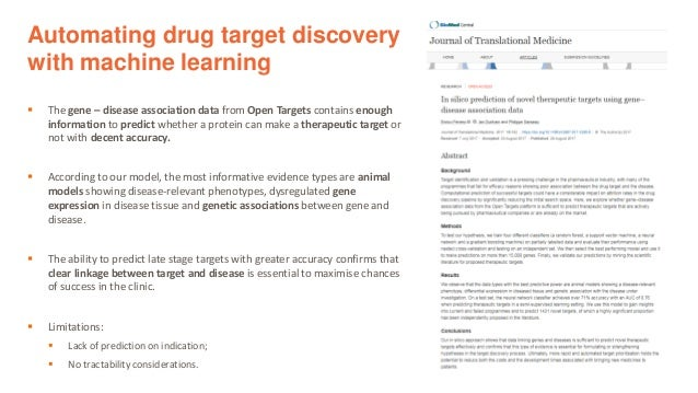 Automating drug target discovery with machine learning ▪ The gene – disease association data from Open Targets contains en...