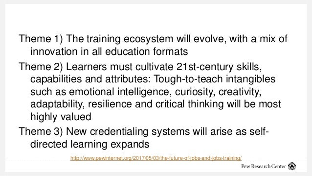 Theme 1) The training ecosystem will evolve, with a mix of innovation in all education formats Theme 2) Learners must cult...