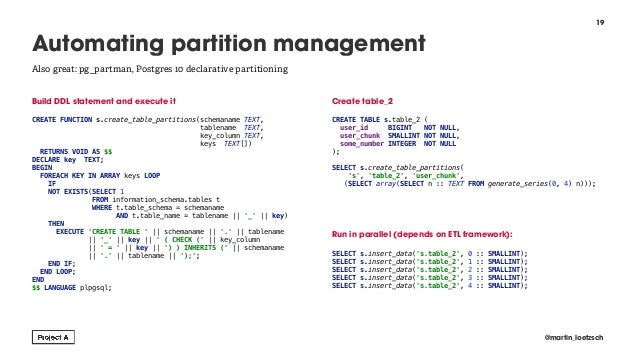 Build DDL statement and execute it  CREATE FUNCTION s.create_table_partitions(schemaname TEXT, tablename TEXT, key_column...