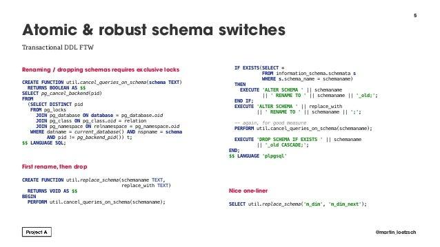 Renaming / dropping schemas requires exclusive locks  CREATE FUNCTION util.cancel_queries_on_schema(schema TEXT) RETURNS ...