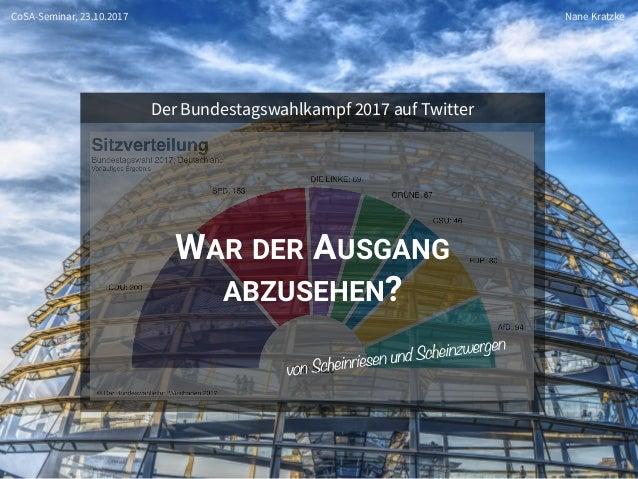 Prof. Dr. Nane Kratzke WAR DER AUSGANG ABZUSEHEN? 1 Der Bundestagswahlkampf 2017 auf Twitter CoSA-Seminar, 23.10.2017 Nane...