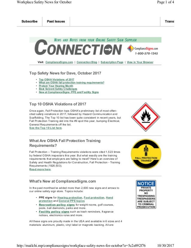 Visit: ComplianceSigns.com   Connection Blog   Subscription Page   View in Your Browser Top Safety News for Dave, October ...
