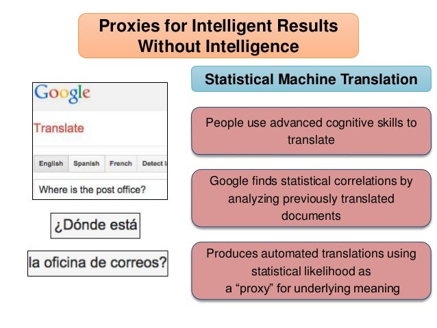 People use advanced cognitive skills to translate Proxies for Intelligent Results Without Intelligence Google finds statis...