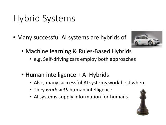 Hybrid Systems • Many successful AI systems are hybrids of • Machine learning & Rules-Based Hybrids • e.g. Self-driving ca...