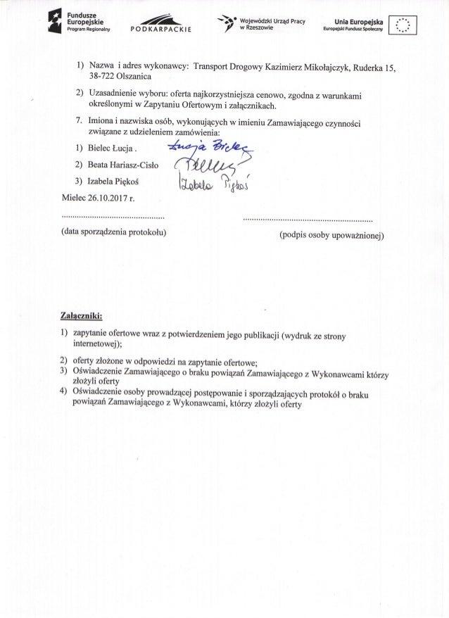 Protokół - wyniki zapytania ofertowego
