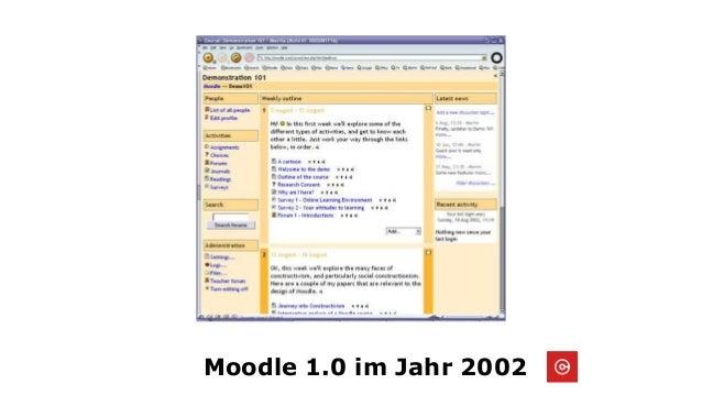 Moodle 1.0 im Jahr 2002