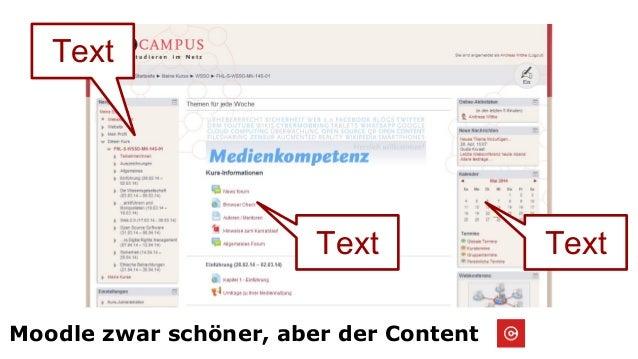 Moodle zwar schöner, aber der Content Text TextText