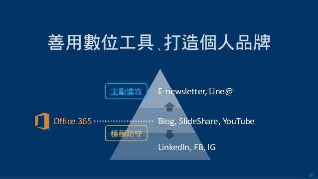16 E-newsletter, Line@ Blog, SlideShare, YouTube LinkedIn, FB, IG Office 365