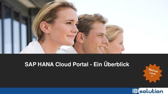 SAP HANA Cloud Portal - Ein Überblick