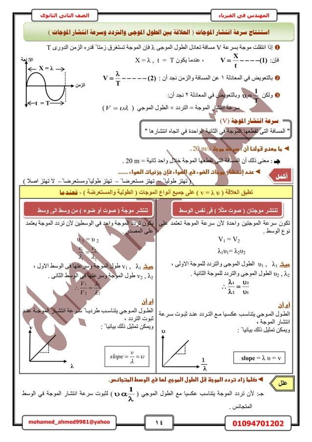 14 01094701202mohamed_ahmed9981@yahoo في المهندسالفيزياءالثانوى الثاني الصف ٓٞؿش حٗظوِض اًحرَٔػشVٓٔخ...