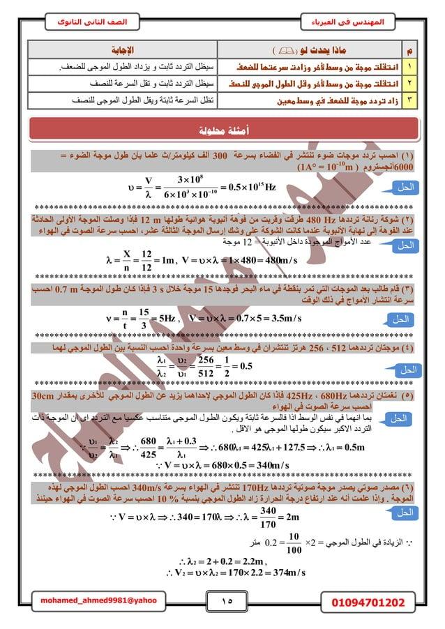 15 01094701202mohamed_ahmed9981@yahoo في المهندسالفيزياءالثانوى الثاني الصف وٕن حيذس يبرا()اإلعبثخ ...