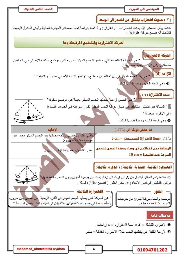 5 01094701202mohamed_ahmed9981@yahoo في المهندسالفيزياءالثانوى الثاني الصف ٢٤حُزٔا ٍٝحُز٘اي ٌٖ٤ُٝا حُٔا...