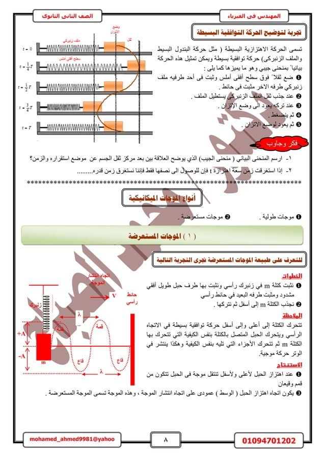 8 01094701202mohamed_ahmed9981@yahoo في المهندسالفيزياءالثانوى الثاني الصف ٢٤ٔحُز ٍٝحُز٘ي كًَش َٓؼ ( ...